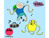 Coloring page Finn and Jake listening to music painted byLili