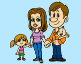 Coloring page Happy family painted byheavenly