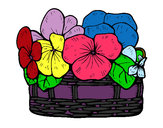 Coloring page Basket of flowers 12 painted bybabygirl