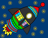 Coloring page Space Rocket painted bychandneeel