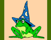 Coloring page Magician turned into a frog painted bymajja