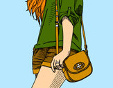 Coloring page Girl with handbag painted bymajja