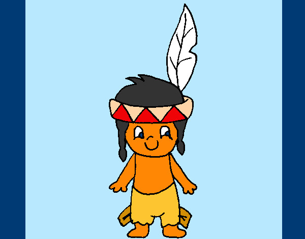 Colored Page Little Indian Painted By Majja