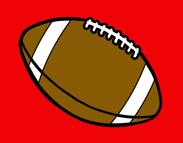 Coloring page Ball of American football painted bymack
