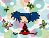 Coloring page Girl with butterflies painted bymajja