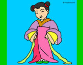 Coloring page Chinese girl painted bypoppy