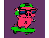 Coloring page Graffiti the pig on a skateboard painted byNeonnerd