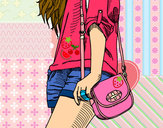 Coloring page Girl with handbag painted byhivebees