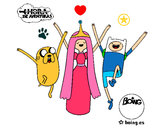 Coloring page Jake, Princess Bubblegum and Finn painted byhivebees
