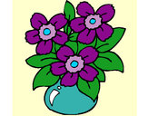 Coloring page Vase of flowers painted bySilvia