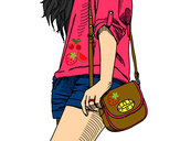 Coloring page Girl with handbag painted byiluv1D