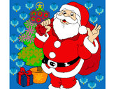 Coloring page Santa Claus and a Christmas tree painted byjane