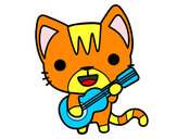 Coloring page Guitarist cat painted bymikayla