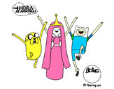 Coloring page Jake, Princess Bubblegum and Finn painted bybuboy