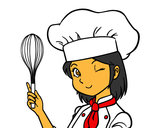 Coloring page Girl-chef painted byabigail
