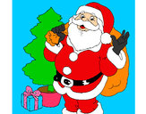 Coloring page Santa Claus and a Christmas tree painted bydorothy