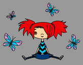 Coloring page Girl with butterflies painted bykourichi23
