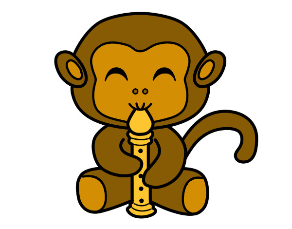 Coloring page Flautist monkey painted bySarah52130