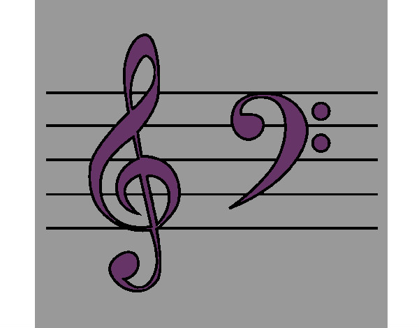 Coloring page Treble and bass clefs painted bySarah52130
