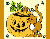 Coloring page Pumpkin and cat painted byterri