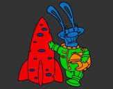 Coloring page Astronaut rabbit painted byMANDALA