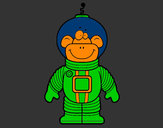Coloring page Space Monkey painted byMANDALA