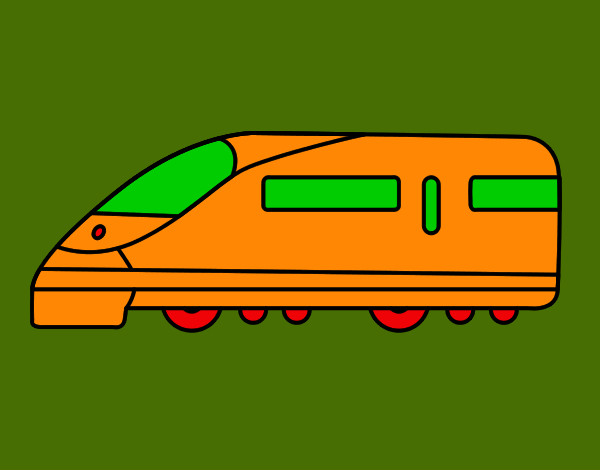 Coloring page Fast train painted byMANDALA