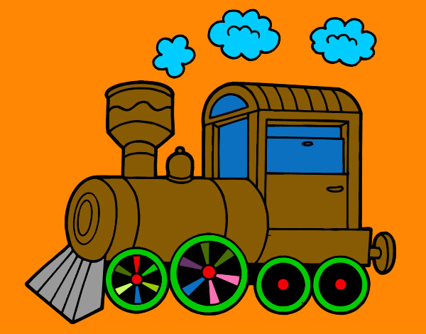 Coloring page Steam locomotive painted byMANDALA