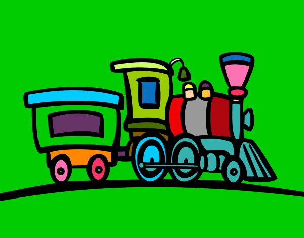 Coloring page Train with wagon painted byMANDALA