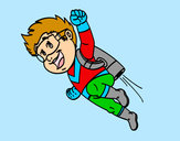 Coloring page Flying hero painted bywilliams