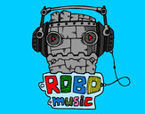 Coloring page Robot music painted bykare
