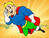 Coloring page Super Hero flying painted bykare