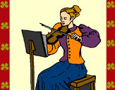 Coloring page Female violinist painted bySherry
