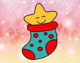 Coloring page Stocking with a star painted byadricasa