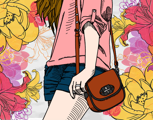 Coloring page Girl with handbag painted byemnem1995