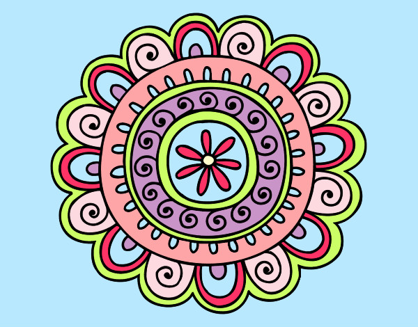 Coloring page Happy mandala painted byemnem1995