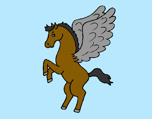 Coloring page Pegasus on hind legs painted byems76