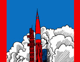 Coloring page Rocket launch painted byJDWR