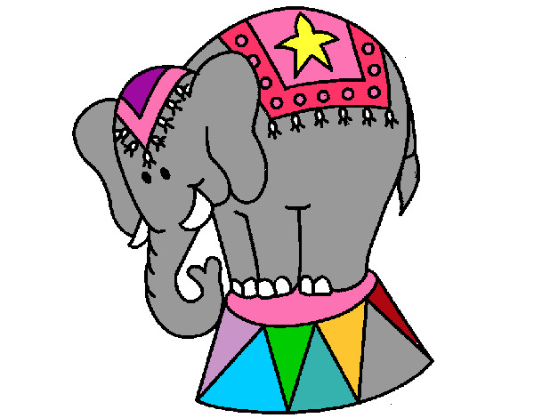 Coloring page Performing elephant painted byCarmen