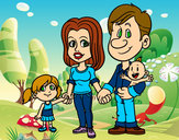 Coloring page Happy family painted byJuJuh