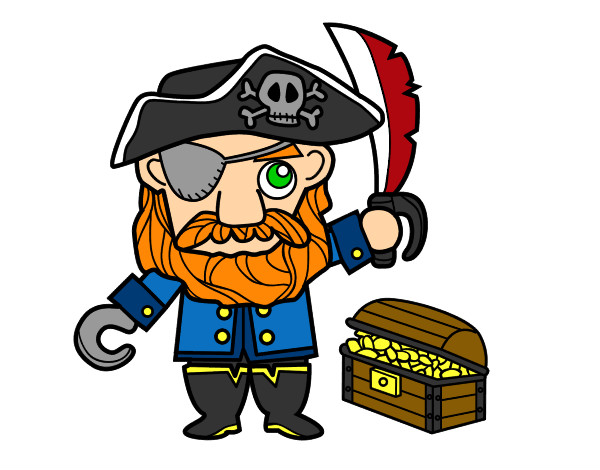 Coloring page Pirate with treasure painted byBigricxi