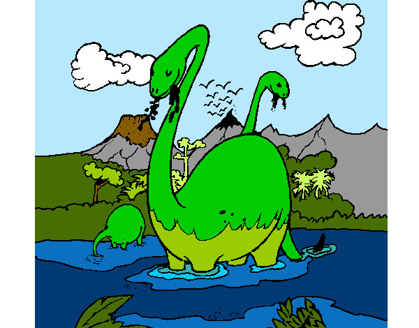 Coloring page Apatosaurus in water painted byBigricxi