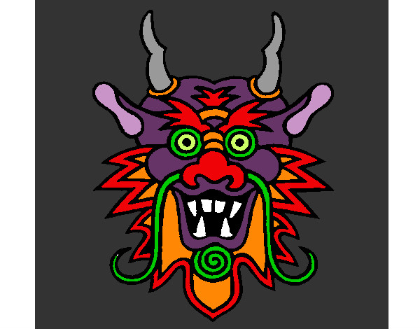 Coloring page Dragon face painted byBigricxi