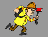 Coloring page Fireman with ax painted byBigricxi