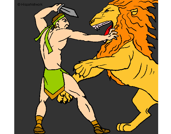 Coloring page Gladiator versus a lion painted byBigricxi
