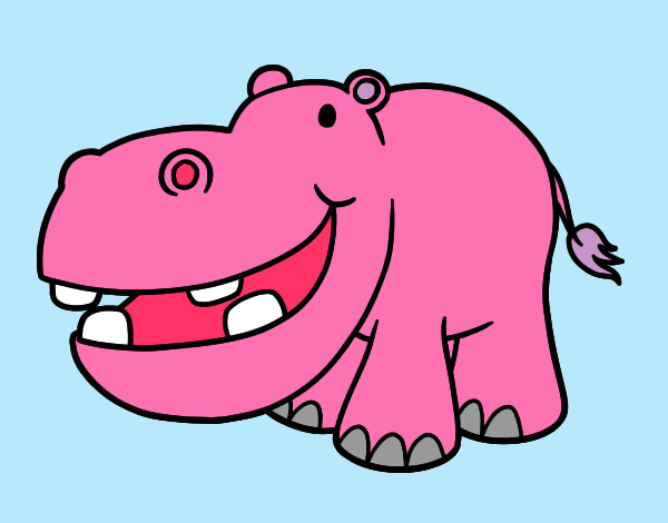 Coloring page Little hippopotamus painted byBigricxi