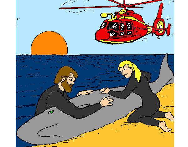 Coloring page Whale rescue painted byBigricxi