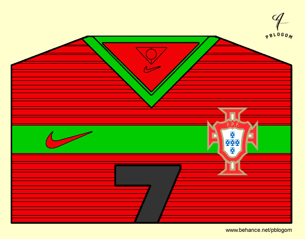 Coloring page Portugal World Cup 2014 t-shirt painted bymaja5