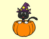 Coloring page Halloween kitten painted bycmm777