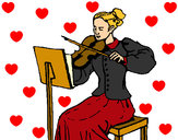 Coloring page Female violinist painted byShebear